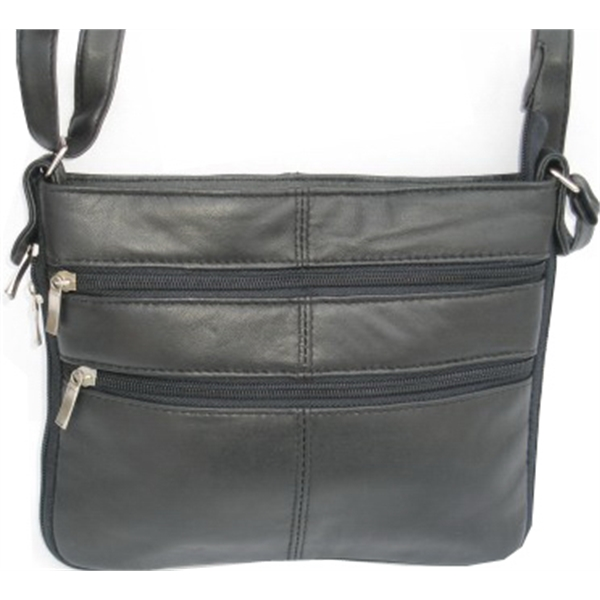 Two Zippered Pocket Leather Purse